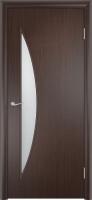 Дверь ламинированная Луна со стеклом (стекло матовое), венге (серая)