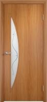 Дверь ламинированная Луна со стеклом (стекло с фьюзингом), миланский орех (светлая)