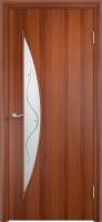 Дверь ламинированная Луна со стеклом (стекло с фьюзингом), итальянский орех (темная)