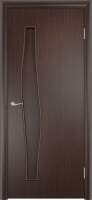 Дверь ламинированная Волна глухая, венге (черная)