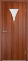 Дверь ламинированная Рюмка со стеклом (стекло матовое), итальянский орех (темная)