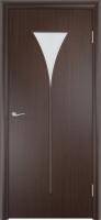 Дверь ламинированная Рюмка со стеклом (стекло матовое), венге (черная)