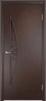 Дверь ламинированная Луна-3 глухая, венге (черная)