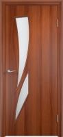 Дверь ламинированная Стрилиция со стеклом (стекло матовое), итальянский орех (темная)