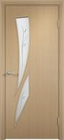 Дверь ламинированная Стрилиция со стеклом (стекло с фьюзингом), беленый дуб