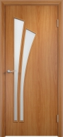 Дверь ламинированная Орхидея со стеклом (стекло матовое), миланский орех (светлая)