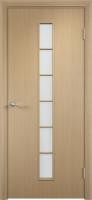 Дверь ламинированная Японка со стеклом (стекло матовое), беленый дуб