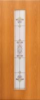 Дверь ламинированная Барокко со стеклом (стекло художественное), миланский орех (светлая)