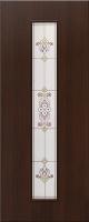 Дверь ламинированная Барокко со стеклом (стекло художественное), венге (черная)
