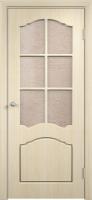 """Дверь пвх  Лилия межкомнатная со стеклом (стекло бронзовое """"Водопад""""), беленый дуб"""