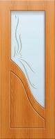 Дверь пвх  Жасмин межкомнатная со стеклом (стекло белое матовое с рисунком), миланский орех (светлая)