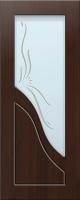 Дверь пвх  Жасмин межкомнатная со стеклом (стекло белое матовое с рисунком), венге (черная)