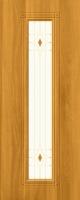 Дверь пвх  Элегия межкомнатная со стеклом (стекло белое матовое с рисунком и фьюзингом (декоротивные накладки), миланский орех (светлая)