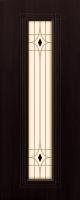 Дверь пвх  Элегия межкомнатная со стеклом (стекло белое матовое с рисунком и фьюзингом (декоротивные накладки), венге (черная)