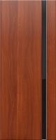 Дверь пвх Веста1 межкомнатная со стеклом триплекс (черное), итальянский орех (светлая)