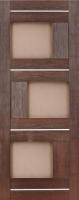 Дверь Экошпон Стиль  3 (S-3) межкомнатная со стеклом (стекло белое матовое) и молдингом, орех