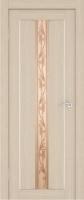 Дверь Экошпон Стиль  7 (S-7) межкомнатная со стеклом (стекло белое матовое с художественным рисунком), беленый дуб