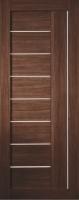 Дверь Экошпон Стиль  9 (S-9) межкомнатная со стеклом (стекло белое матовое) и молдингом, орех