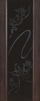 Дверь Экошпон Стиль 11 (S-11) межкомнатная со стеклом (стекло черное триплекс с пескоструйным рисунком и стразами), венге