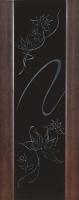 Дверь Экошпон Стиль 11 (S-11) межкомнатная со стеклом (стекло черное триплекс с пескоструйным рисунком и стразами), орех