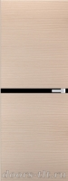 Дверь Экошпон ЭЛИТ Q 2 межкомнатная глухая со стеклом триплекс черное, беленый дуб