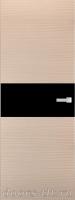 Дверь Экошпон ЭЛИТ Q 5 межкомнатная глухая со стеклом триплекс черное, беленый дуб