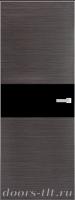 Дверь Экошпон ЭЛИТ Q 5 межкомнатная глухая со стеклом триплекс черное, серый