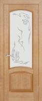 Дверь Александрит шпонированная межкомнатная со стеклом, анегри светлый