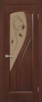 Дверь Дианит шпонированная межкомнатная со стеклом, каштан