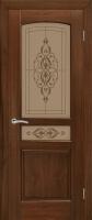 Дверь Назонит шпонированная межкомнатная со стеклом, американский орех