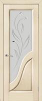 Дверь Иридий шпонированная межкомнатная со стеклом, беленый дуб
