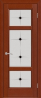 Дверь Кристалл шпонированная межкомнатная со стеклом, темный анегри