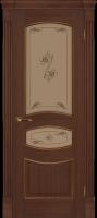 Дверь Топаз II шпонированная межкомнатная со стеклом, каштан
