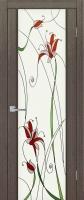 Дверь Меланит шпонированная межкомнатная со стеклом, черный абрикос
