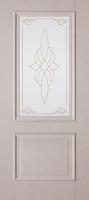 Дверь пвх  Дуэт межкомнатная со стеклом (стекло белое матовое с рисунком), дуб ивори